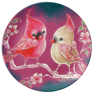 Male & Female Cardinal Bird Porcelain Plates