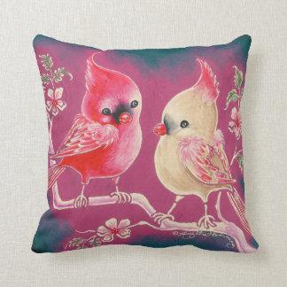 Male & Female Cardinal Bird Pillow