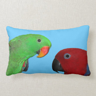 male female eclectus parrot throw pillow