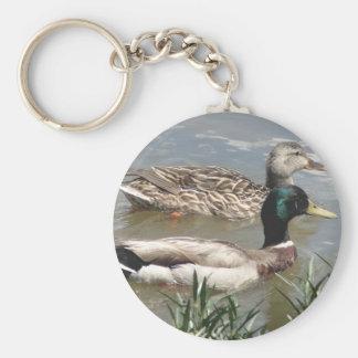 Male & Female Mallard Basic Round Button Keychain