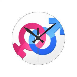 Male & Female Round Clock