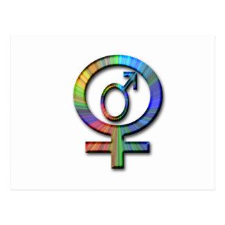 male female symbols postcard
