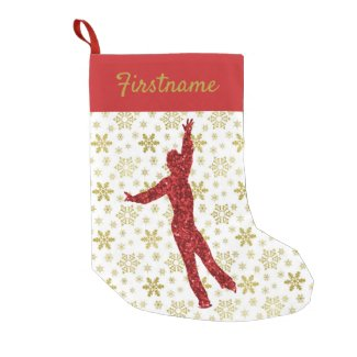 Male figure skater Christmas stocking - gold & red