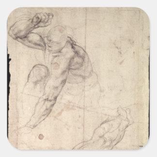 Male figure study square sticker