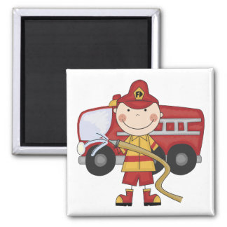Male Firefighter T-shirts and Gifts 2 Inch Square Magnet