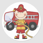 Male Firefighter T-shirts and Gifts Classic Round Sticker