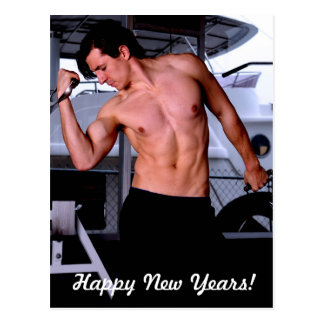 Male fitness model working out postcard