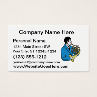 Male French Horn Player Blue Suit Business Card