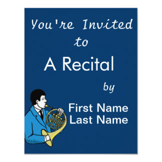 Male French Horn Player Blue Suit Card