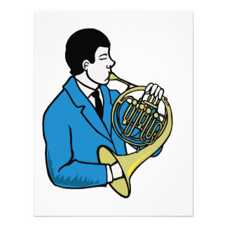 Male French Horn Player Blue Suit Announcements