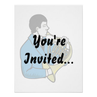 Male French Horn Player Blue Suit Custom Invitations