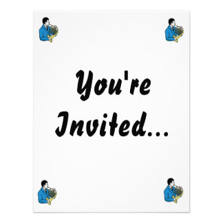 Male French Horn Player Blue Suit Invitation
