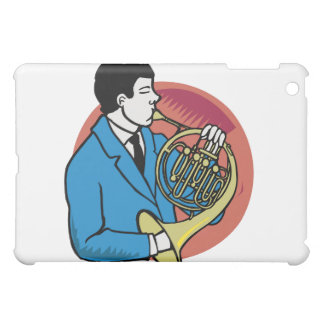 Male French Horn Player Blue Suit Pink Background iPad Mini Cover