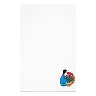 Male French Horn Player Blue Suit Pink Background Stationery