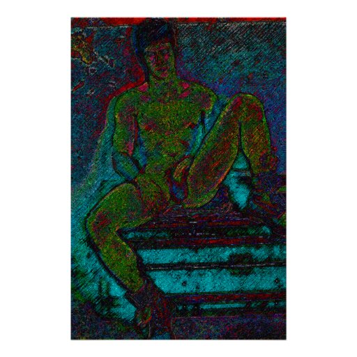 Male Frontal Nude Reclining in Boots Modern Art Print