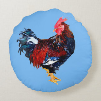 male gallinaceous bird round pillow
