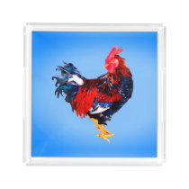 male gallinaceous ,rooster acrylic tray
