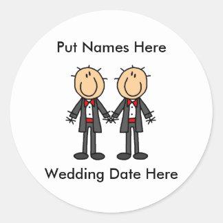 Male Gay Wedding To Customize Classic Round Sticker