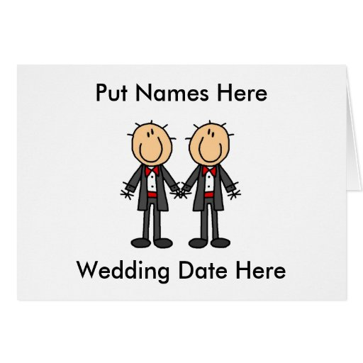 Male Gay Wedding To Customize Greeting Card