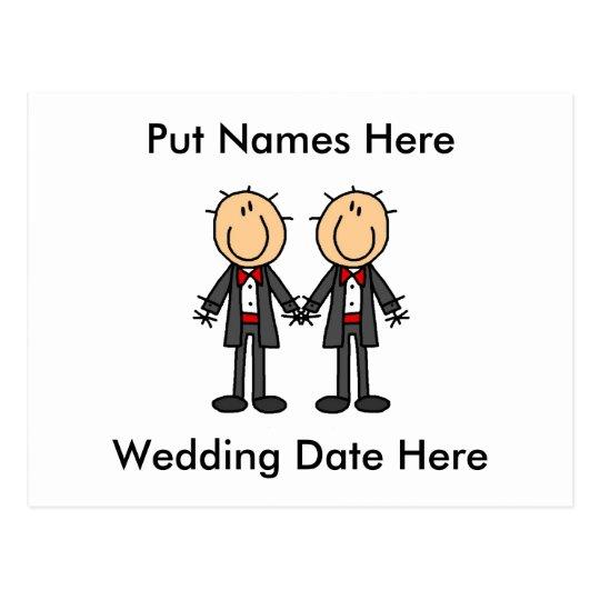 Male Gay Wedding To Customize Postcard
