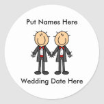 Male Gay Wedding To Customize Round Stickers