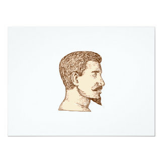Male Goatee Side View Etching 6.5x8.75 Paper Invitation Card