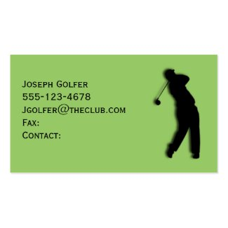 Male Golfer Green Business Card Template Pack Of Standard Business Cards