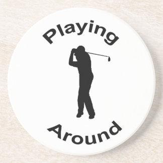 Male golfer in silhouette coaster, gift idea beverage coaster