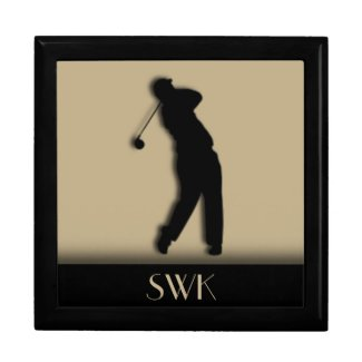 Male Golfer Monogram Box Keepsake Box