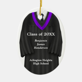 Male Grad Gown Black and Purple Ornament