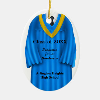 Male Grad Gown Blue and Gold Ornament