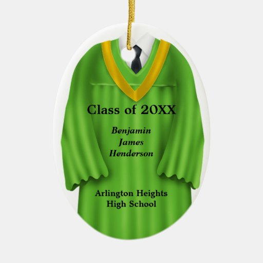 Male Grad Gown Green and Gold Ornament