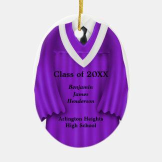 Male Grad Gown Purple and White Ornament