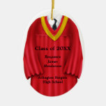 Male Grad Gown Red and Gold Ornament