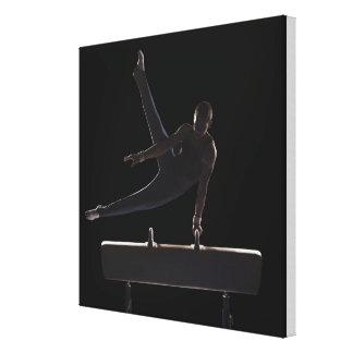 Male gymnast on pommel horse canvas prints