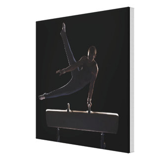Male gymnast on pommel horse canvas print