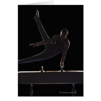 Male gymnast on pommel horse card
