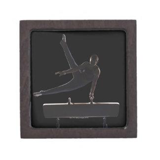 Male gymnast on pommel horse jewelry box
