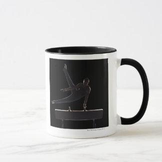 Male gymnast on pommel horse mug