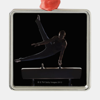 Male gymnast on pommel horse christmas ornaments