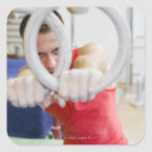 Male gymnast on rings square sticker