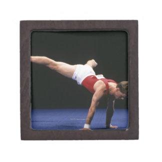 Male gymnast peforming a routine in the floor keepsake box