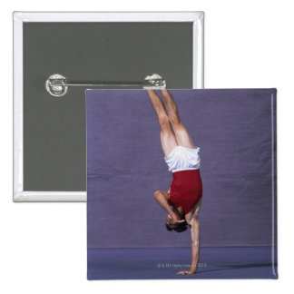 Male gymnast performing on the floor exercise 2 pinback button