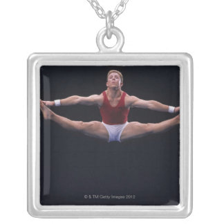 Male gymnast performing on the floor exercise silver plated necklace