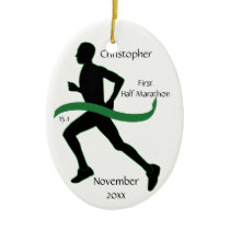 Male Half Marathon Runner Green Ribbon Ornament