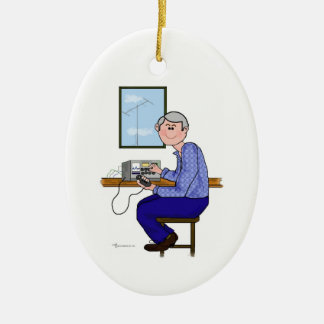 Male Ham  with Grey Hair Christmas Ornament