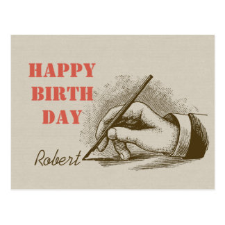 Male hand holding a fountain pen CC0820 Birthday Postcard