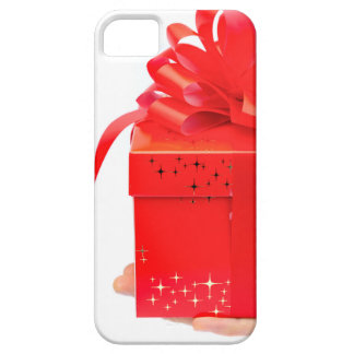Male hand presenting red christmas box on hand iPhone SE/5/5s case