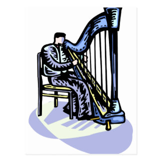 Male Harp Player Graphic Image Design Strings Postcard