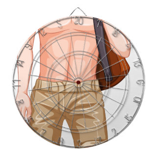 Male hipster dartboard with darts
